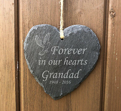 Forever In Our Hearts - Personalised Hanging Slate Memorial Plaque - Any Name