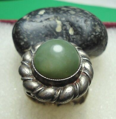 Ancient Roman Silver Ring with a Green Stone Original Authentic Antique R217