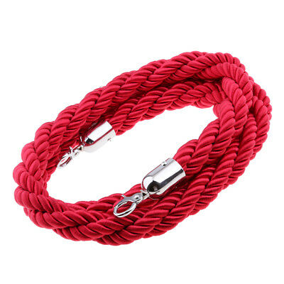 1pc Crowd Control Stanchion Queue Barrier Post Rope 6.56ft Red Twisted Rope