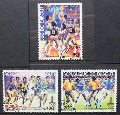DJIBOUTI 1979  Sport Pre-Olympic Year Football. Set of 3. Fine USED/CTO SG771/73
