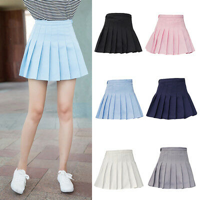 AU_ Women Girl Mini Pleated Solid Color High Waist Tennis Skater Short Skirt Del