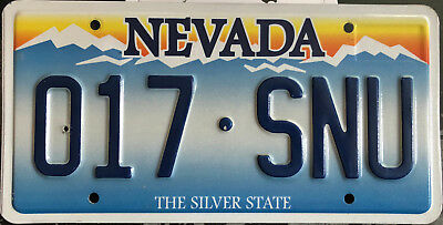 undated Nevada passenger car license plate - mountain scene