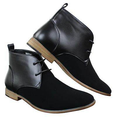 Mens Suede Leather Black Laced Chelsea Dealer Ankle Boots Smart Casual Formal
