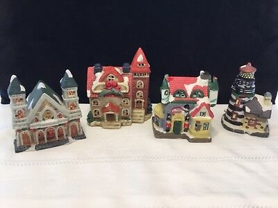 """lot of 4 Porcelain Holiday Christmas Village Houses Buildings 5"""" tall (L2)"""
