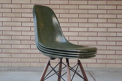 4 Authentic Herman Miller Fiberglass Eames Shell Chairs Green
