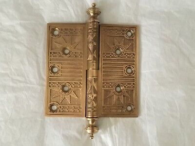"Antique Solid Brass 1880's East Lake Style Steeple Tip 5"" x 5"" Door Hinge"