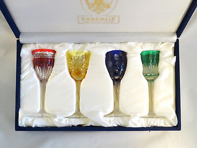 Faberge Na Zdorovye Multi Color Crystal Cordial Liqueur Glasses Mint in Box!