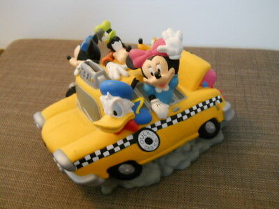 Disney Fab 5 Yellow Taxi Bank With Mickey, Minnie, Goofy, Donald & Pluto