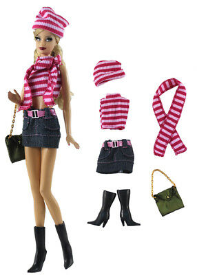 6 PCS Set Fashion Outfit Top+skirt+hat+scarf+bag+boots FOR 11 in. Doll Clothes