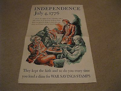 "Savings Stamps 1776 Independence folded 12x18"" VG Poster WWII"