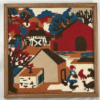 """Finished Needlepoint Barn Farm Picture Embroidered Crewel Framed 16"""" X 16"""""""