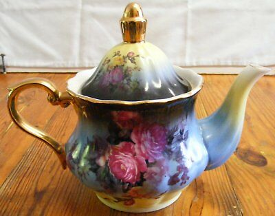 Vintage Blue And Aqua Porcelain Teapot With Roses Floral And Gold Trim Unmarked