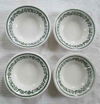 """4 Sm 4 3/4"""" SAUCE DISHES w/Green FLORAL Pattern BUFFALO Restaurant CHINA"""