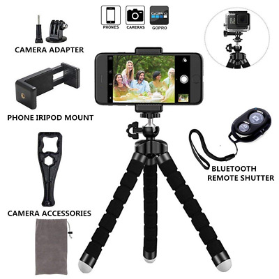 Phone Tripod Stand Adjustable Holder Universal Clip Remote Shutter Release NEW