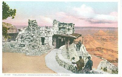 Vintage Fred Harvey Phostint  Postcard The Lookout Grand Canyon National Park