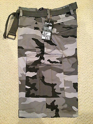 40bed55a9f NWT Men's Regal Wear Light Gray Camouflage Camo Belted Cargo Shorts ALL  SIZES