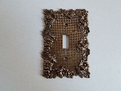 Vintage Outlet Cover Metal/Brass Light Switch Retro Flowers