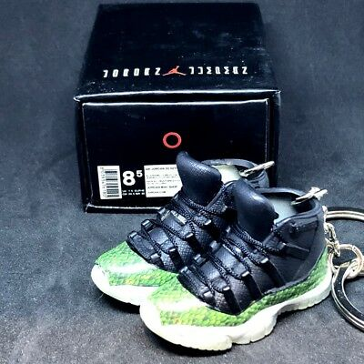 eb22f42c32461e Pair Air Jordan Xi 11 Retro Green Snakeskin Keychain 3D Sneaker Shoes Figure +Box