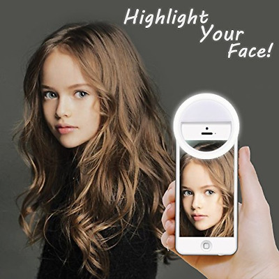 Selfie Ring Lighting Rechargeable Dimmable Clip Light Portable for Phone(White)