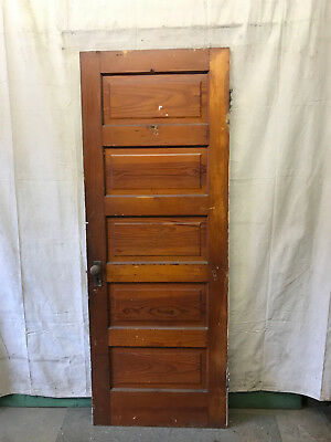 SIngle Rised 5 Panel Wood Door Reclaimed Antique 29-3/4x79