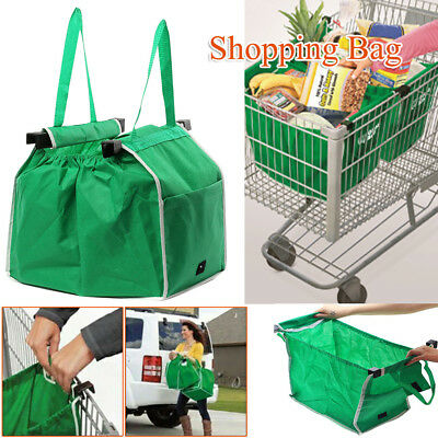 Foldable Reusable Tote Bag Grocery Fabric Shopping Carrier Clip-To-Cart Trolley