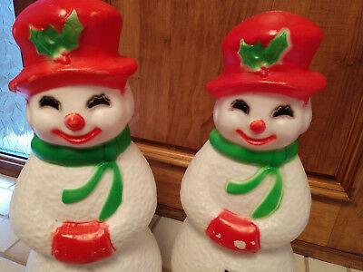 2 vtg christmas blow mold snowman union products usa 23 lighted yard decor - Christmas Blow Mold