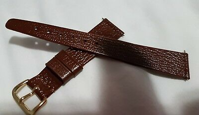 Vintage Apollo GREAT BRITAIN real leather 18mm brown watch strap w/ gold buckle