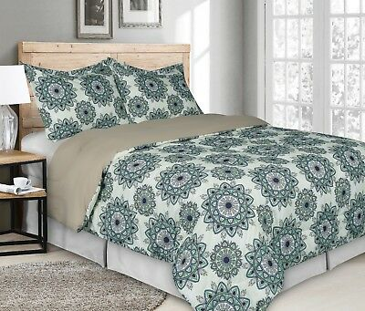 Rich Printed 3 Pieces Goose Down Alternative Comforter Set, On Sale, Clearance