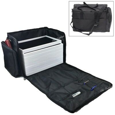 DELUXE CARRYING CASE JEWELRY CARRY CASE DUFFEL w/10 TRAYS & LINER TRAVELING CASE