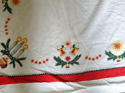 Vintage Christmas linen tablecloth 56 x 80 inch  - tablecloth