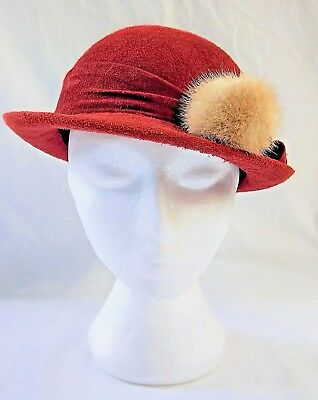 Vintage 1950's Burgundy Red Suede Hat With Gold Buttons & Fur Ball Trim