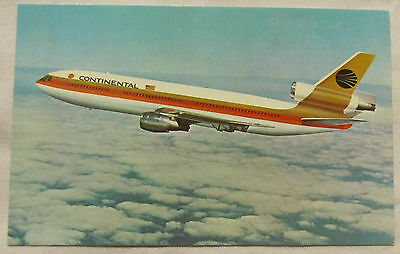 "Vintage 1970's Continental Airlines DC-10 3 1/2 by 5 1/2"" Postcard"
