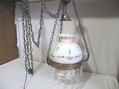 Antique Victorian Ceiling Hanging Electric Parlor Library Farmhouse Lamp Light