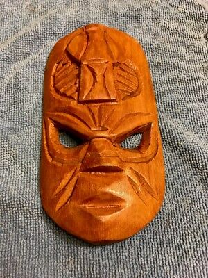 "Fiji Brrown Wood Hand Carved Tribal Mask 6 1/4"" X 3 1/4"" Primitive Home Deco WOW"