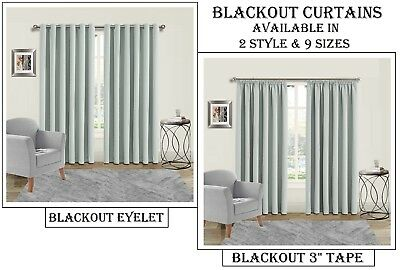 Thermal Blackout Curtains in Eyelet (Ring Top) & Tape (Pencil Pleated) Silver