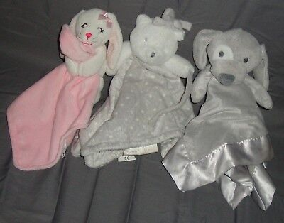Blankets and Beyond Nubby Baby Blanket/Rattle Lot of 3 Lovey  Animal Plushies