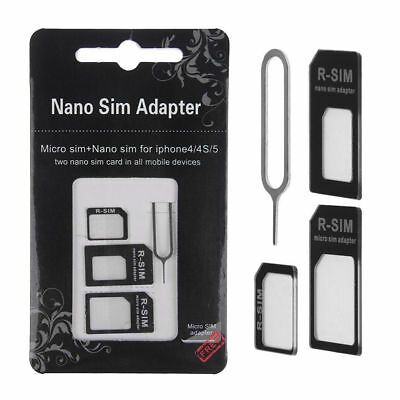 Nano Micro SIM Card Adapters Converter to Standard for iPhone,Samsung,HTC,LG