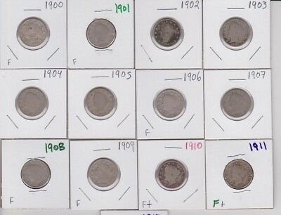 1900-1912 Liberty V Nickel Run Collection Lot of 13 Five Cent US Coins