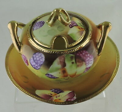 Antique Nippon Hand Painted Jar/lidded Bowl Gold Moriage Plate Attached