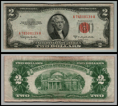 1953C $2 Dollar Bill Old Us Note Legal Tender Paper Money  Red Seal  Lot 0674