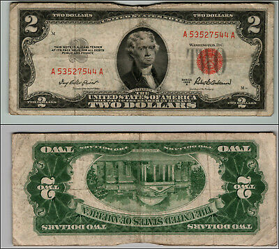 1953Ca $2 Dollar Bill  Us Note Legal Tender Paper Money Currency Red Seal P793