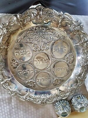 Jewish seder plate, candle holders and cup
