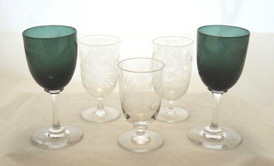 5 Antique Victorian Wheel Cut Fern Decorated Sherry Port Glasses 2 Green Bowls