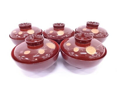 3825059: Japanese Lacquer Lidded Soup Bowl Set Of 5 / Makie Orb