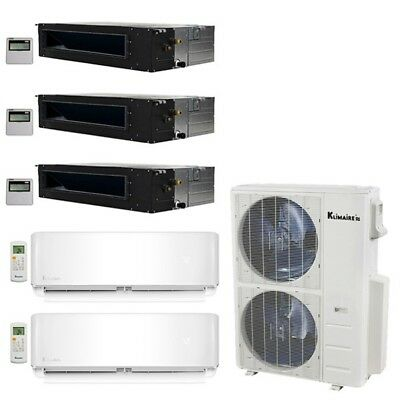 Klimaire 5-Zone 52K BTU 20 Seer 12-12K Wall 12-12-12K Ducted AC Mini Split Heat