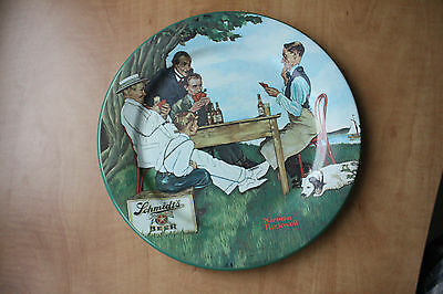 """Set Of 4 Benedictine10"""" Tin Toleware Collector Plates, Norman Rockwell, No Tax"""