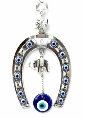 Blue Evil Eye with Horse Shoe Hanging Decoration for Protection With a Pouch-005