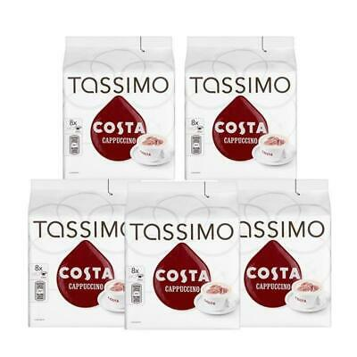 Tassimo Costa Cappuccino Coffee 16 Disques,8 Portions (Pack de 5,Total 80