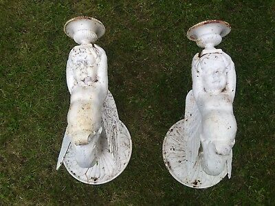 A Pair of Antique Cast Iron Victorian Angel Garden Wall Sconces