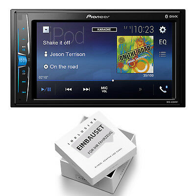 Pioneer MVH-A200VBT Set Radio Multimedia Bluetooth für VW Passat B5 1996-2005